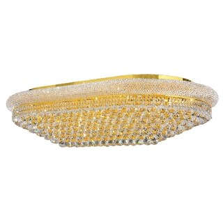 French Empire 48 in. D x 28 in. H 12-inch 28-light Gold Finish Clear Crystal Ceiling Light