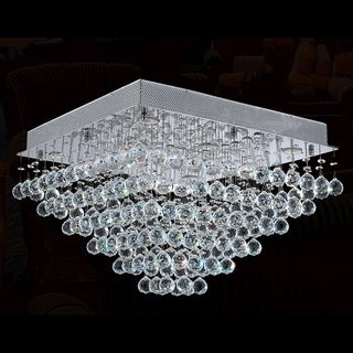 Crystal Rain Drop 24 in. L x 24 in. W x 16 in. H 8-light Chrome Finish Clear Crystal Ceiling Light