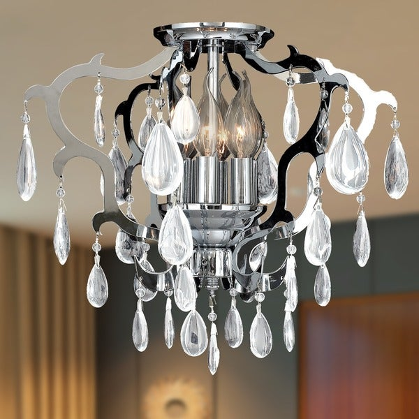 Art Deco Damask Scroll 16 in. D x 14 in. H 6-light Chrome Finish Clear Crystal Ceiling Light