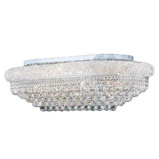 French Empire 36 in. D x 20 in. H 12-inch 18-light Chrome Finish Clear Crystal Ceiling Light