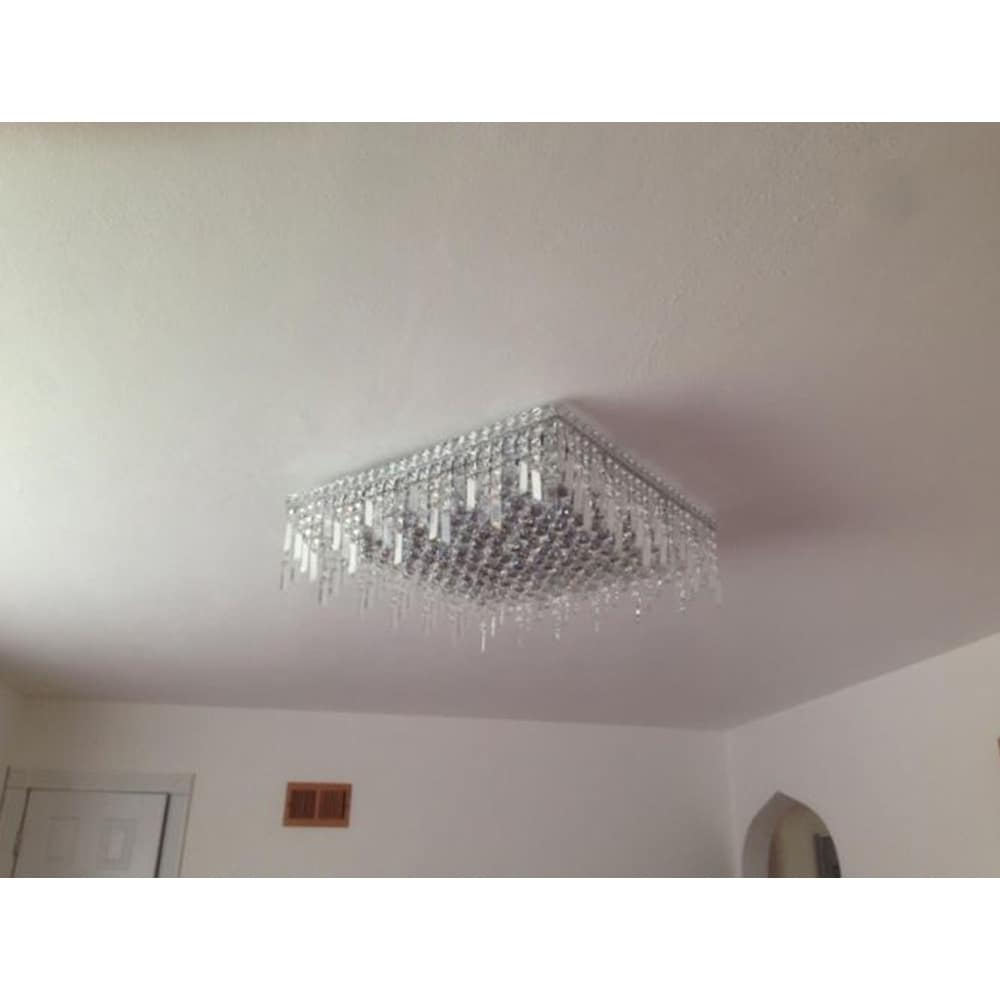 best loved 584b7 1fbe6 Glam Art Deco Style 24 in. L x 24 in. W x 7.5 in. H 13-light Chrome Finish  Clear Crystal Extra Large Ceiling Light