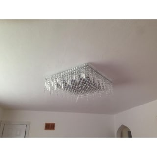 Glam Art Deco Style 24 in. L x 24 in. W x 7.5 in. H 13-light Chrome Finish Clear Crystal Ceiling Light