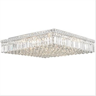 Cascade L24-inch x W24-inch x H5.5-inch 13-light Chrome Finish Clear Crystal Ceiling Light
