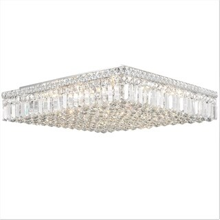 Glam Art Deco Style 24 in. L x 24 in. W x 5.5 in. H 13-light Chrome Finish Clear Crystal Ceiling Light