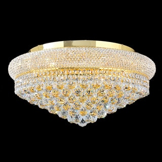 "French Empire 12 Light Gold Finish and Clear Crystal 24"" Flush Mount Ceiling Light"