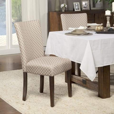 HomePop Mocha Cream Quatrefoil Pattern Parson Chairs (Set of 2)