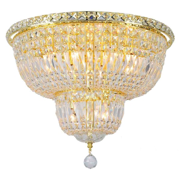 French empire 10 light gold finish clear crystal 20 round flush french empire 10 light gold finish clear crystal 20 round flush mount ceiling light aloadofball Choice Image