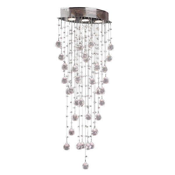 Crystal Rain Drop 16 in. D x 8 in. W x 40 in. H Chrome Finish Clear Crystal 3-light Flush Mount