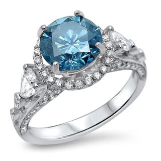 Noori 18k White Gold 2 3/4ct TDW Blue Round Diamond Engagement Ring (G-H, SI1-SI2)