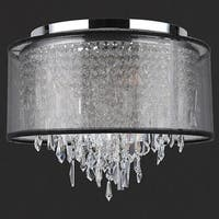 Metro Candelabra 18 in. D x 15 in. H 5-light Chrome Finish Clear Crystal Black Organza Shade Ceiling Light