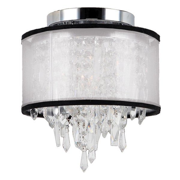 Metro Candelabra Single-light Chrome Finish and Clear Crystal 8-inch Flush Mount Ceiling Light with White Organza Shade