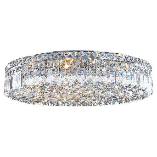 Glam Art Deco Style 24 in. D x 5.5 in. H 9-light Chrome Finish Extra Large Clear Crystal Ceiling Light