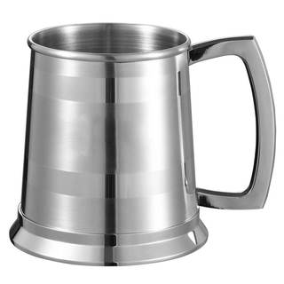 Visol Dual II Polished Stripes On Satin Finish Beer Mug - 16 ounces