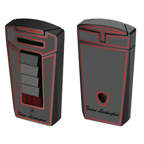 Tonino Lamborghini Aero Metallic Gray With Red Lines Torch Flame Cigar Lighter (Ships Degassed)
