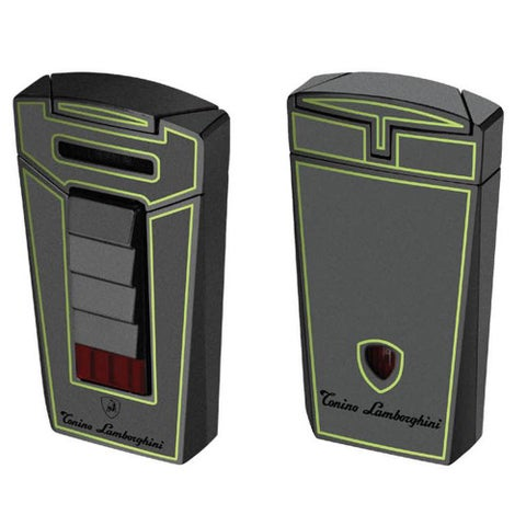 Tonino Lamborghini Aero Metallic Gray With Green Lines Torch Flame Cigar Lighter (Ships Degassed)