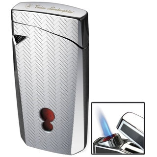 Tonino Lamborghini Magione Chrome with Interwoven Pattern Torch Flame Cigar Lighter (Ships Degassed)