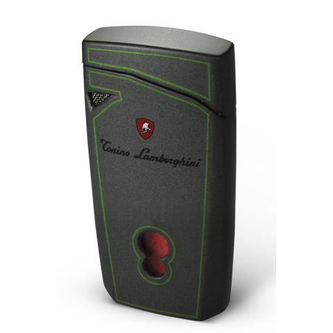 Tonino Lamborghini Magione Metallic Gray With Green Lines Torch Flame Cigar Lighter (Ships Degassed)