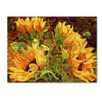 Mandy Budan 'Four Sunflowers' Gallery Wrapped Canvas Art - Multi