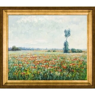 Claude Monet 'The Fields of Poppies' Hand Painted Framed Canvas Art
