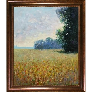Claude Monet 'Champ d'avoine' (Oat Fields) Hand Painted Framed Canvas Art