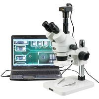 3.5X-180X Inspection Trinocular Zoom Stereo Microscope with 144-LED Compact Light