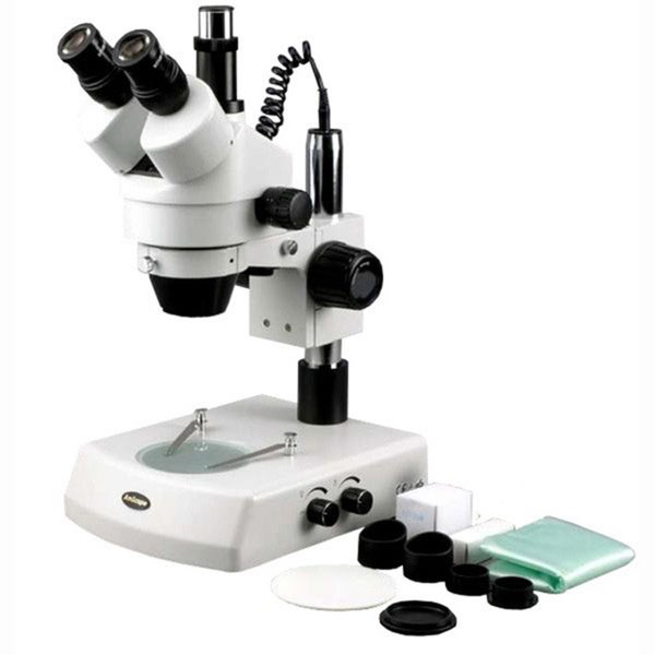 7X-180X Trinocular Stereo Zoom Microscope with Dual Halogen Lights