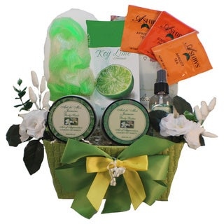 Tranquil Delights Jasmine Spa Bath and Body Gift Basket With Tea - Green
