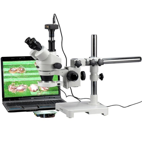 7X-90X Trinocular 80-LED Zoom Stereo Microscope on Boom Stand with 3MP USB Camera