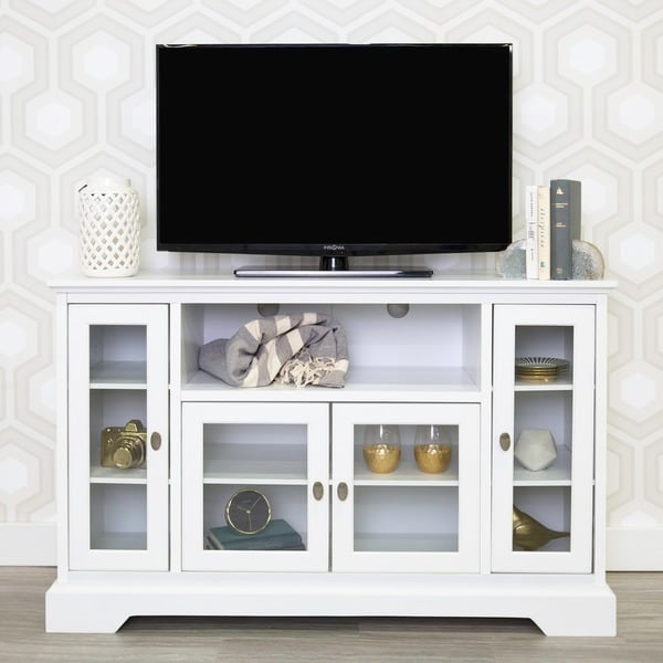shop 52 white wood highboy style tv stand on sale free shipping today. Black Bedroom Furniture Sets. Home Design Ideas