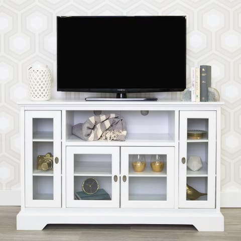 "52"" Highboy TV Stand Console - White - 52 x 16 x 33h"