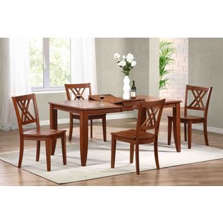 Iconic Furniture 5-piece Cinnamon Rectangle Double X-Back Dining Set