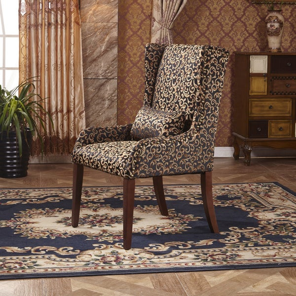 Classic Black Floral Sloped Arm Dining Chair with Pillow