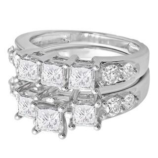 Elora 14k White Gold 3 1/10ct TDW Princess and Round Diamond 3-stone Bridal Ring Set (H-I, I1-I2)