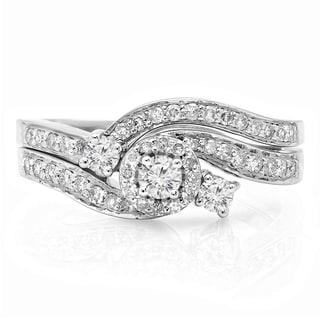 14k White Gold 5/8ct TDW Round Diamond Bridal Ring Set (H-I, I1-I2)
