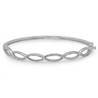 Sterling Silver 1/10ct TDW Round-cut Diamond Swirl Bangle Bracelet (I-J, I2-I3)