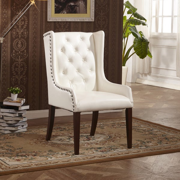 Shop Classic Faux Leather Sloped Arm Dining Chair With