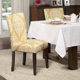 Link to HomePop Yellow and Cream Damask Parson Chairs (Set of 2) Similar Items in Dining Room & Bar Furniture