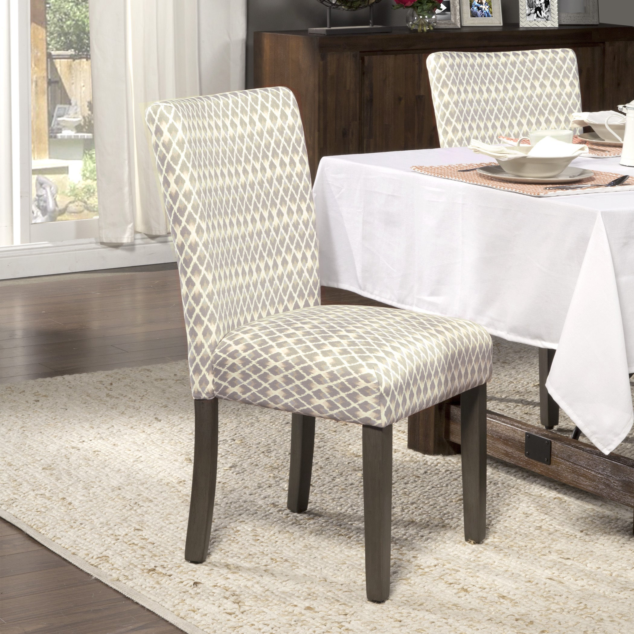 HomePop Gray Diamond Parson Chairs (Set of 2) (Shades of ...
