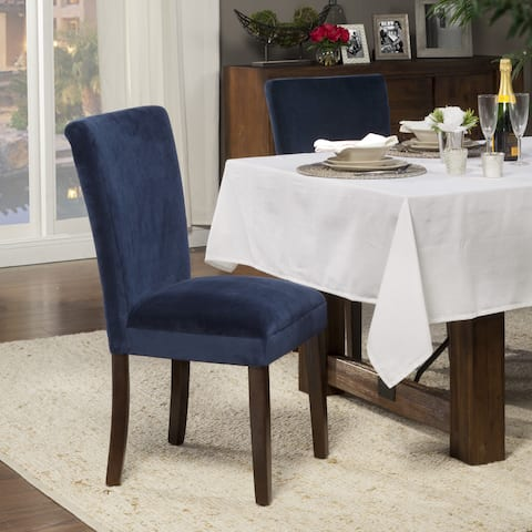 HomePop Classic Velvet Parsons Dining Chair - Dark Navy Blue Velvet (Set of 2)