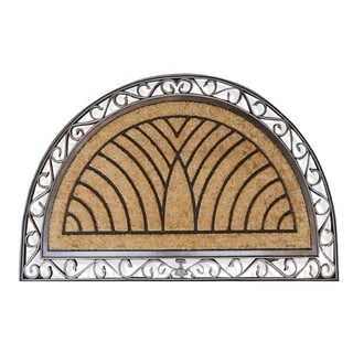Hand-crafted Elegant Half-round Rubber and Coir Double Doormat (2'6 x 4')