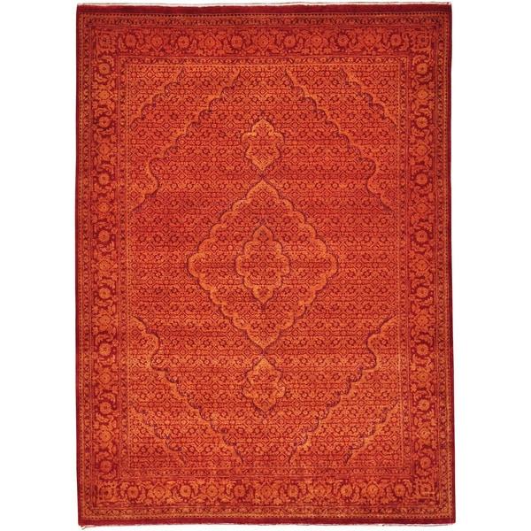 Hand-knotted Tabriz Mahi Wool/ Silk Oriental Rug (5' x 6'9) - 5' x 6'9