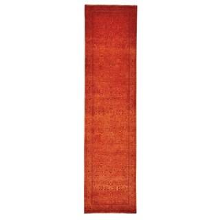 Handmade Runner Wool/ Silk Kashan Oriental Rug (2'7 x 10')