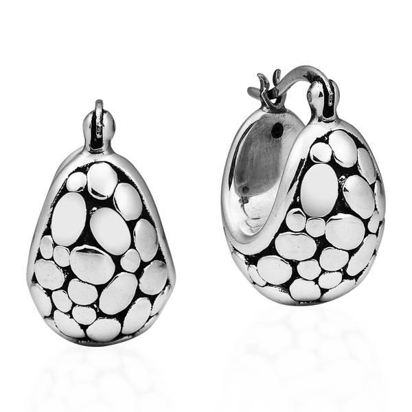 Handmade Chubby Oval Stone 925 Sterling Silver Basket Hoop Earrings Thailand