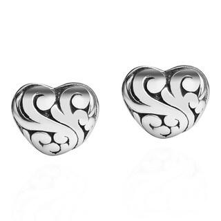 Swirls Heart Shaped .925 Sterling Silver Post Earrings (Thailand)