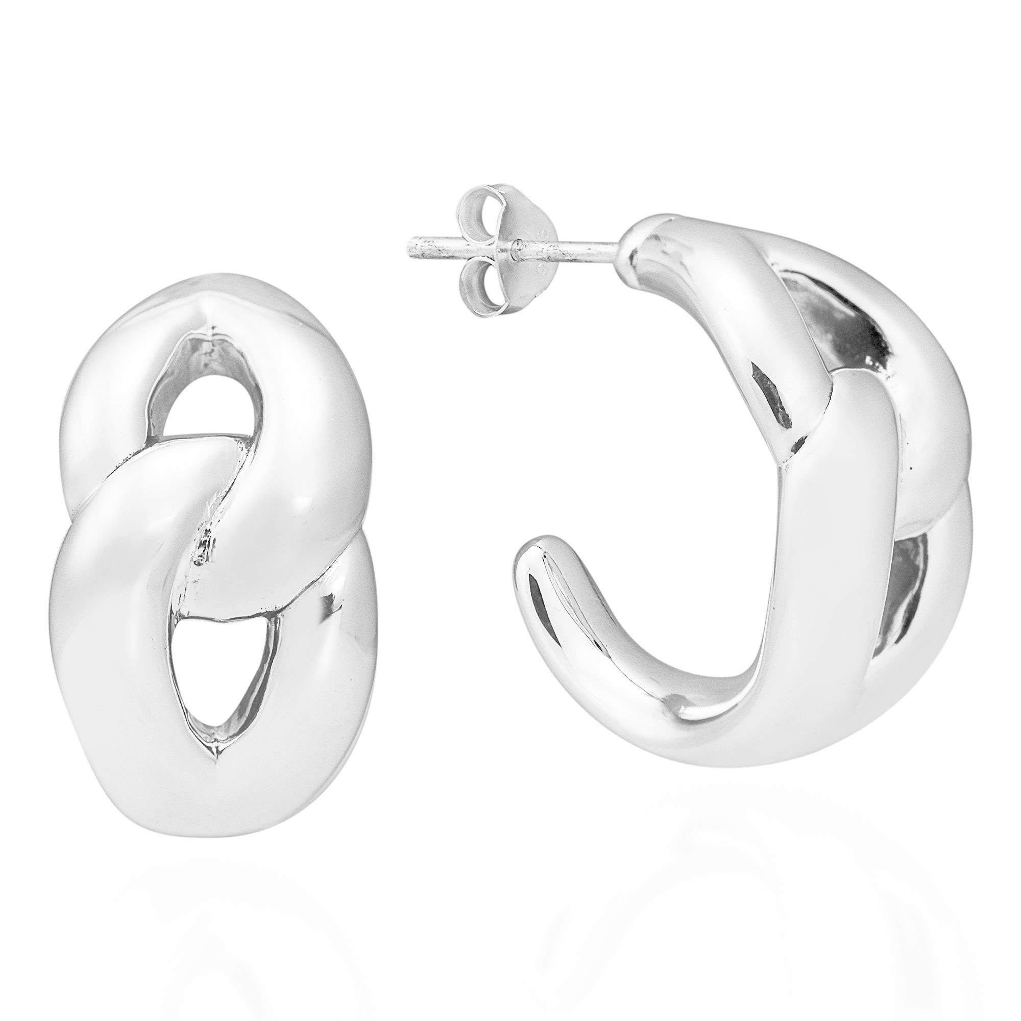 b368a4ff3 Shop Handmade Intertwined Link .925 Sterling Silver Post Earrings  (Thailand) - On Sale - Free Shipping On Orders Over $45 - Overstock.com -  10298466