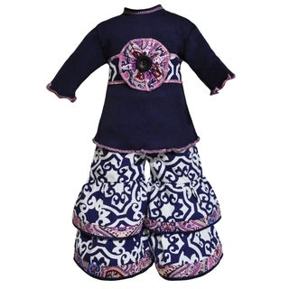 AnnLoren Navy Blue Lattice and Purple Paisley Doll Outfit