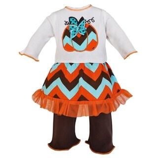 AnnLoren Autumn Chevron Pumpkin Dress and Leggings