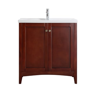Vinnova Asti 30-inch Antique Cherry Mirrorless Single Vanity with White Drop-in Porcelain Vessel