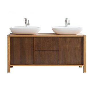 Vinnova Monza 60-inch American Red Oak Double Vanity with White Vessel Sink