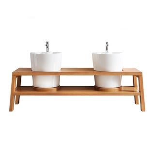 Vinnova lecce 78-inch American Red Oak Mirrorless Double Vanity with White Vessel Sink